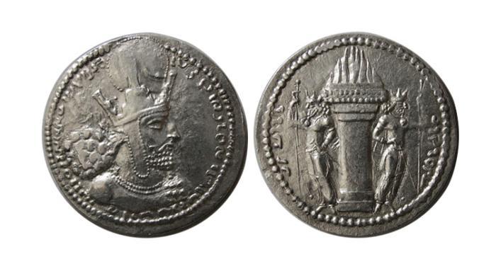 Ancient Coins - SASANIAN KINGS.  Shahpur I. 240-272 AR Drachm