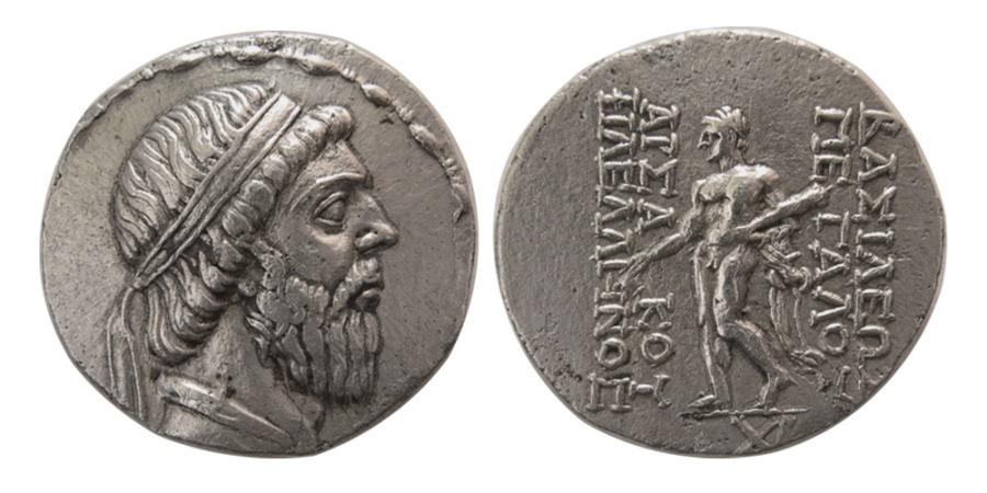 Ancient Coins - KINGS OF PARTHIA. Mithradates I. 164-132 BC. AR Tetradrachm. Lovely strike. Rare.