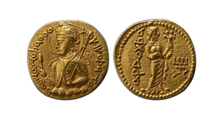 Ancient Coins - INDIA. Kushan Empire. Huvishka. Circa AD 152-192. AV Dinar
