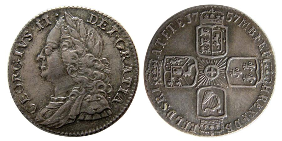 World Coins - GREAT BRITAIN; George II. 1727-1760. AR 6 Pence.