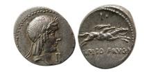 ROMAN REPUBLIC. L. Calpurnius Piso Frugi. 90 BC. Silver Denarius. Lustrous.