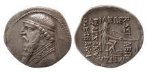 Ancient Coins - PARTHIAN EMPIRE. Mithradates II. 121-91 BC. AR Drachm. Lovely strike.