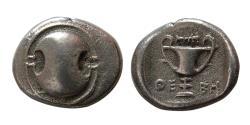 Ancient Coins - BOEOTIA, Thebes. 426-395 BC. AR Hemidrachm.