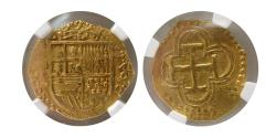 Ancient Coins - SPAIN. 1590-S. Gold 1 Escudo. Seville Mint. NGC-XF 45. Lovely strike.