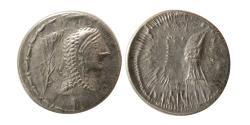Ancient Coins - DANUBIAN CELTS. The Eravisci. 1st. century BC. Imitating Roman Republican denarius of L. Roscius Fabatus. Rare.