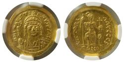 BYZANTINE EMPIRE. Justin II. AD. 565-578. Gold Solidus. NGC-MS.