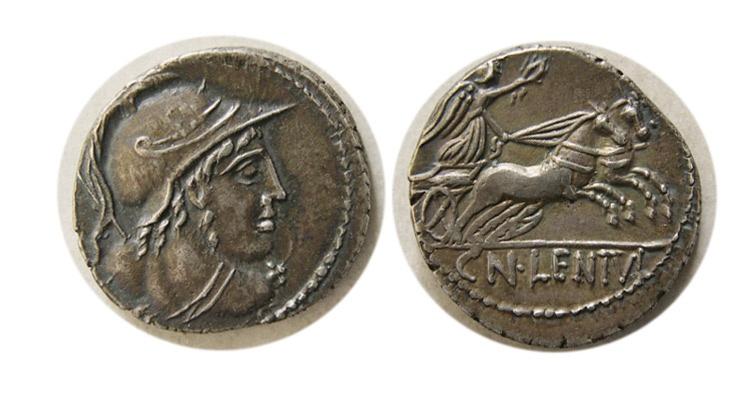 Ancient Coins - ROMAN REPUBLIC. Cn. Lentulus Clodianus. 88 BC. AR Denarius.