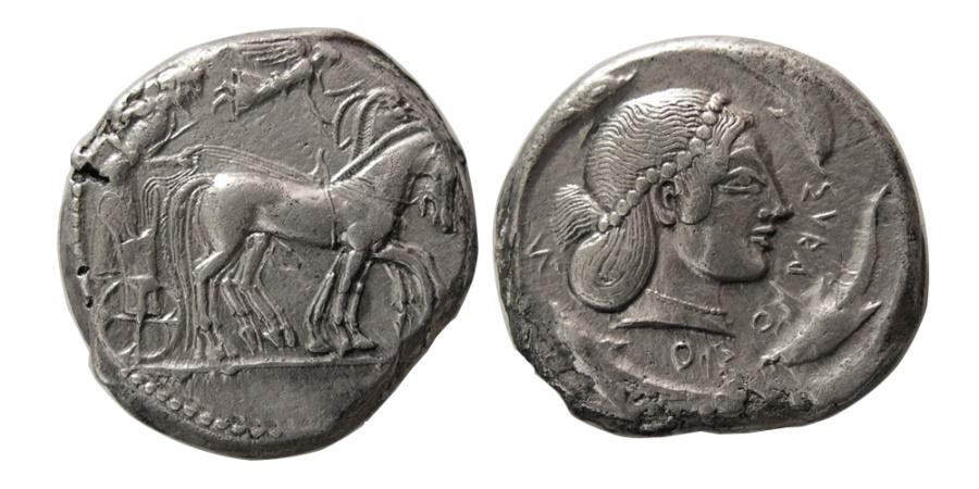 Ancient Coins - SICILY, Syracuse. Circa 480 BC. AR Tetradrachm.