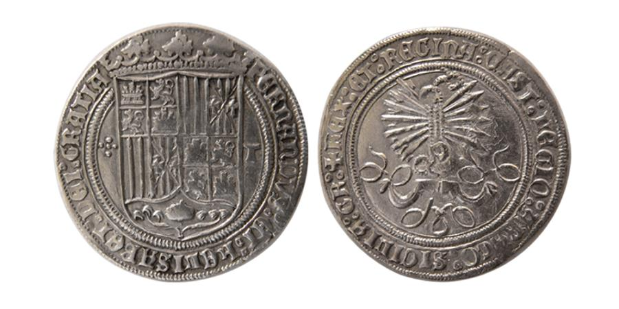 World Coins - SPAIN. Fernando & Isabel. 1474-1510. One Real. Toledo. Lovely strike.