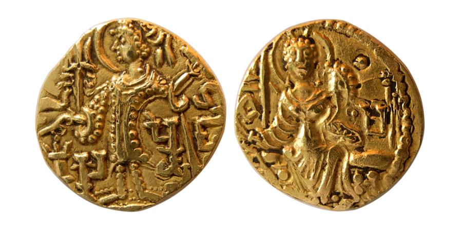 Ancient Coins - INDIA; KUSHAN KINGS. Gadahara. Ca. 360-375 AD. Gold Dinar.