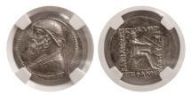 Ancient Coins - PARTHIAN KINGDOM. Mithradates II. 121-91 BC. AR Tetradrachm.  NGC-AU.
