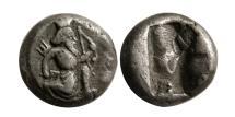 Ancient Coins - ACHAEMENID EMPIRE. temp. Artaxerxes II to Artaxerxes III. Circa 375-340 BC. AR 1/4 Siglos. Rare.