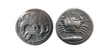 Ancient Coins - SICILY, Akragas. Circa 425-406 BC.  AR Hemidrachm . Rare.