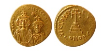 BYZANTINE EMPIRE. Constans II, with Constantine IV. 641-668 AD. AV Solidus. Lustrous.