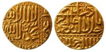 World Coins - INDIA, Mughul Empire. Akbar. 1556-1605 AD. Gold Mohur. Ahmadabad mint, AH 986. Rare.