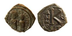 Ancient Coins - BYZANTINE EMPIRE. Heraclius with Constantine. 610-641 AD. Æ 1/2 Follis. Lovely strike.