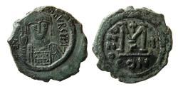 Ancient Coins - BYZANTINE EMPIRE. Maurice Tiberius. 582-602 AD. Æ Follis. Regnal Year 1 (582/3 AD.)