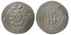 Ancient Coins - SASANIAN KINGS. Khosrau II. AD. 590-628. AR Drachm. GD (Jay/Isfahan) mint, year 31.