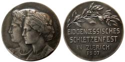 World Coins - SWITZERLAND. Shooting Festival Medal. Silver Medallion. 1907, Zurich.