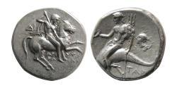 Ancient Coins - CALABRIA, Tarentum. Circa 272-235 BC. Silver Nomos.