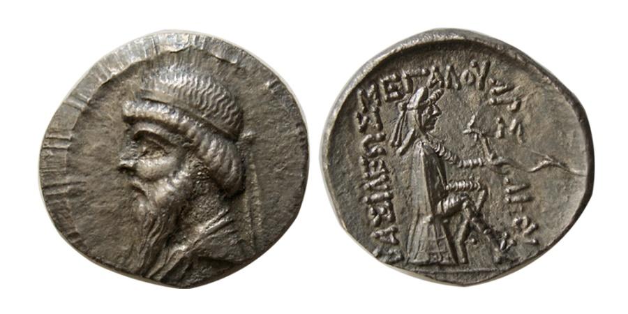 Ancient Coins - KINGS of PARTHIA. Mithradates I. 164-132 BC. AR Drachm. Hekatompylos.