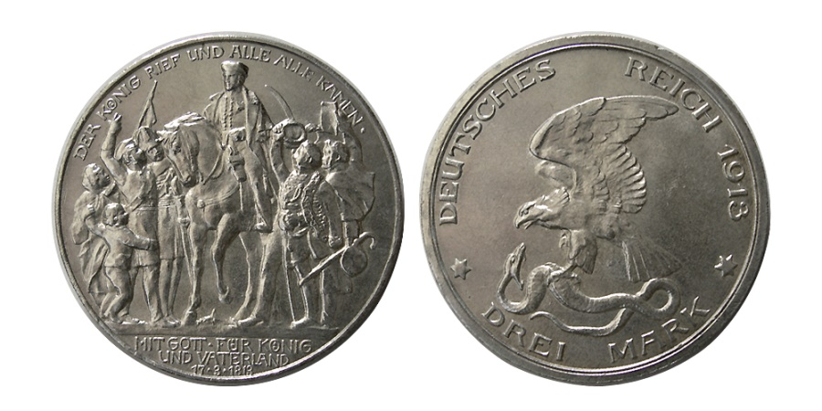 World Coins - GERMAN STATES, Prussia. Wilhelm II. 1913-A. 3 Mark.