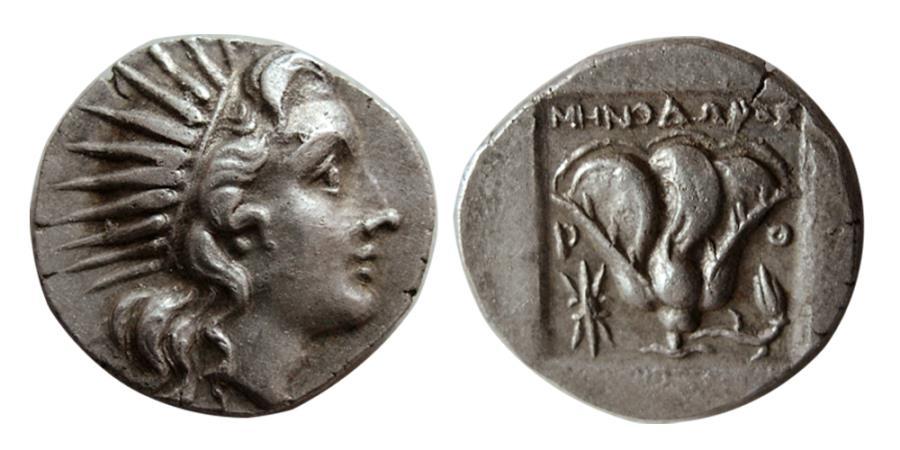 Ancient Coins - ISLANDS off CARIA, Rhodos. Rhodes. Circa 188-170 BC. AR Drachm. 'Plinthophoric' coinage.