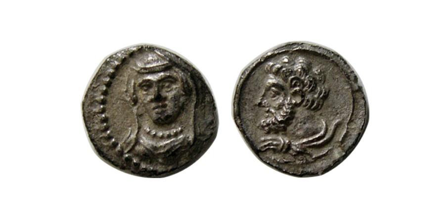 Ancient Coins - CILICIA, Uncertain. Circa 4th Century BC. AR Obol. Extremely rare.  Choice Superb.