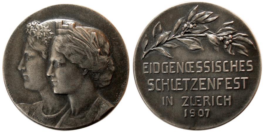 World Coins - SWITZERLAND. Shooting Festival Medal. Silver Medallion. 1907, Zurich.