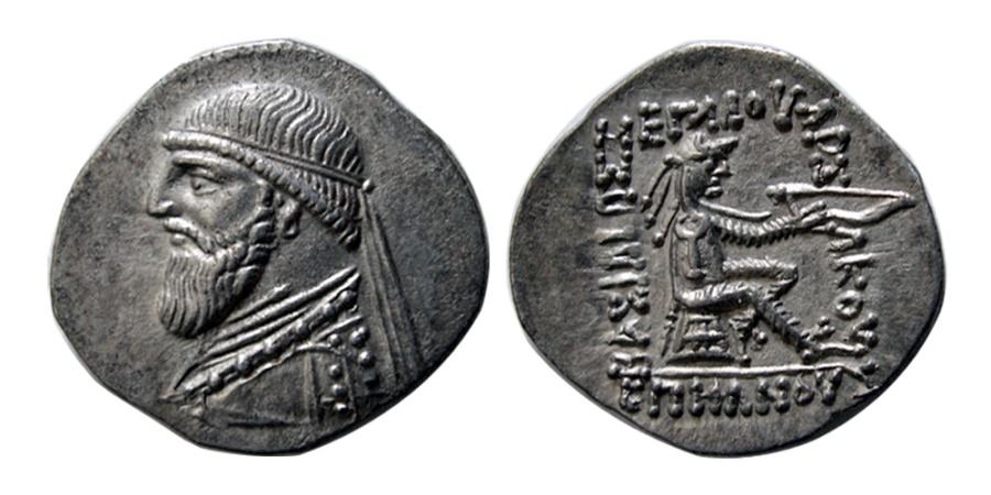 Ancient Coins - KINGS of PARTHIA. Mithradates II. 121-91 BC. AR Drachm. Ekbatana mint. Elegant style.