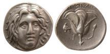 Ancient Coins - ISLANDS off CARIA, Rhodos. Rhodes. Circa 275-250 BC. AR Didrachm. Lovely strike.