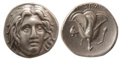 Ancient Coins - ISLANDS off CARIA, Rhodos. Rhodes. Circa 275-250 BC. AR Didrachm. Lovely strike.