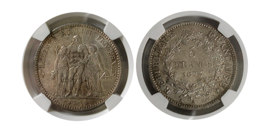 World Coins - FRANCE. 5 Franc, 1873-A. NGC MS-64.