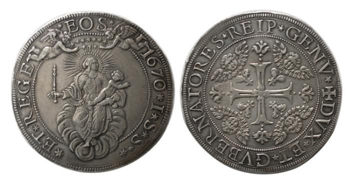 World Coins - GENOA, 1670 ISS. ITALY. AR One Escudo.
