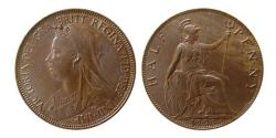 World Coins - GREAT BRITAIN; Queen Victoria. 1837-1901. Half Penny, dated 1900.