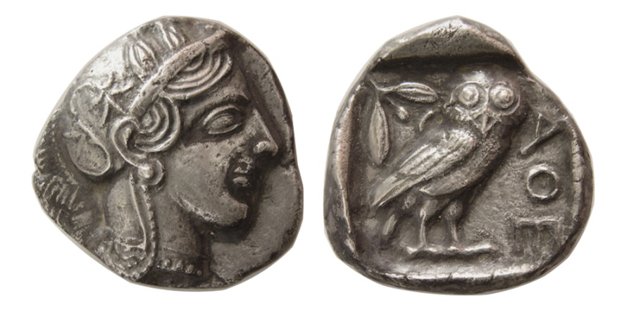 Ancient Coins - ATTICA, Athens. 440-404 BC. AR Tetradrachm. Nice find patina.