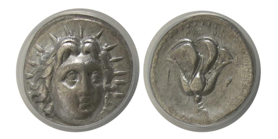 Ancient Coins - CARIA. Islands off Caria. Rhodes. 250-229 BC. AR Didrachm. ANACS-EF 40.