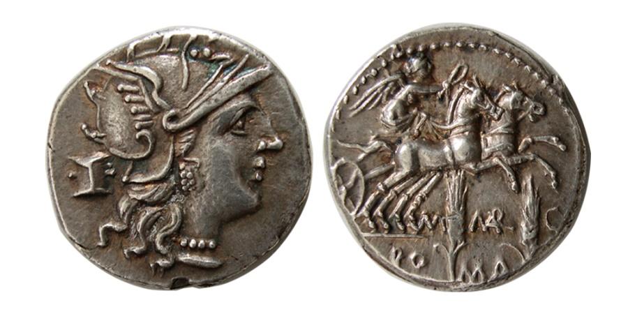 Ancient Coins - ROMAN REPUBLIC. C. Marcius Mn. f. 134 BC. AR Denarius.