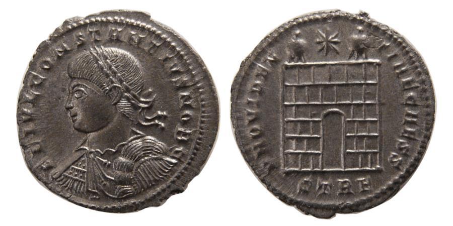 Ancient Coins - ROMAN EMPIRE. Constantine II. as Caesar. 317-337 AD. Æ Follis. Treveri, under Constantine I.