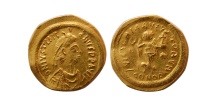 Ancient Coins - BYZANTINE EMPIRE. Justinian I. 527-565. AV Tremissis. Lustrous.