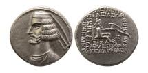 KINGS OF PARTHIA. Mithradates IV. 58/7-55 BC. AR Drachm. Margiana mint. Extremely Rare.
