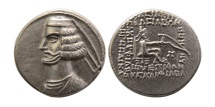 Ancient Coins - KINGS OF PARTHIA. Mithradates IV. 58/7-55 BC. AR Drachm. Margiana mint. Extremely Rare.
