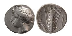 Ancient Coins - LUCANIA, Metapontion. Ca. 340-330 BC. AR Nomos.