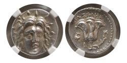 Ancient Coins - CARIA; ISLANDS of RHODES. Ca. 250-200 BC. Silver Didrachm. NGC-Choice AU (Strike 5/5; Surface 4/5).