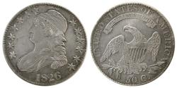 World Coins - UNITED STATES. 1826. Early Classic Head. Capped Bust. Half Dollar (50 Cents).