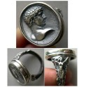 World Coins - Greek Youth Portrait - A custom-made Sterling Silver Cameo Ring