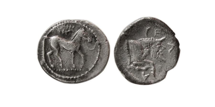 Ancient Coins - SICILY, Gela. Circa 465-450 BC. AR Litra.