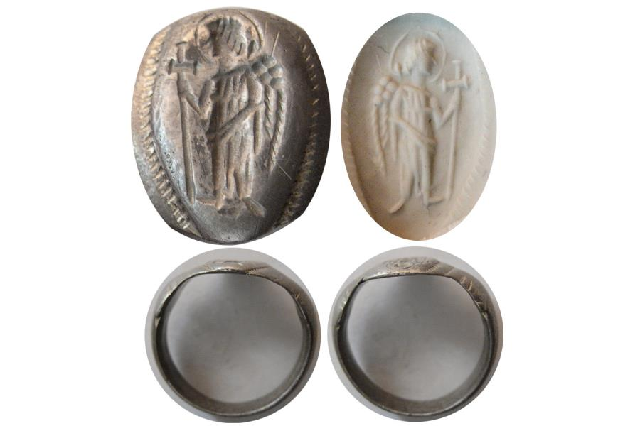 Ancient Coins - BYZANTINE EMPIRE. Ca. 6th.-8th. Century AD. Silver Seal Ring. Very Rare.