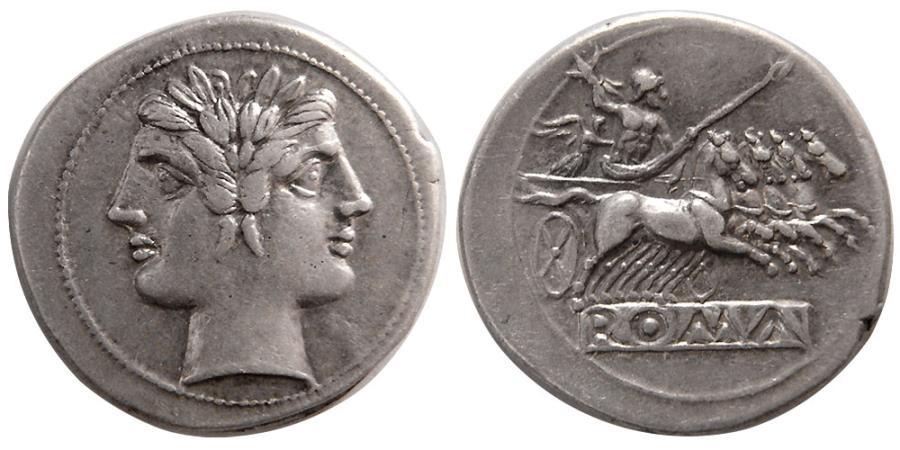 Ancient Coins - ROMAN REPUBLIC. Anonymous. 225-212 BC. AR Quadrigatus. Roma -Janus.