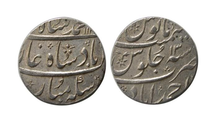 World Coins - INDIA, MUGHUL. Mohammad Shah. 1719-1748 AD. AR Rupee